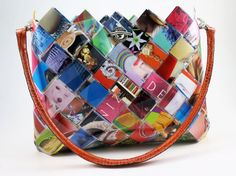Items similar to Recycled Fashion Magazines Handbag - Eco Friendly Hand Woven Paper Purse on Etsy Paper Purse, Recycled Fashion, Recycled Art, Candy Bags, Bag Making, Bunt, Purses And Bags, Diaper Bag, Hand Weaving