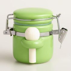 One of my favorite discoveries at WorldMarket.com: Mini Green Ceramic Canisters with Spoons, Set of 6
