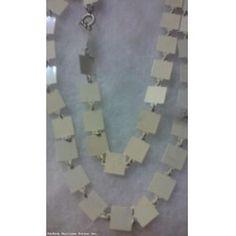 Vintage Unique Enamel on Metal Squares Long Necklace