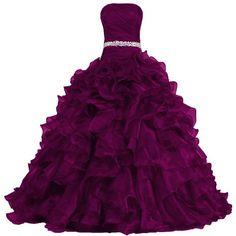 ANTS Women's Pretty Ball Gown Quinceanera Dress Ruffle Prom Dresses (€115) ❤ liked on Polyvore featuring dresses, gowns, ruffle dress, quinceanera dresses, purple evening dresses, purple prom gowns and purple ball gowns