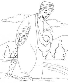 The Sower scatters seed Sunday School Activities, Bible Activities, Sunday School Crafts, Bible Lessons For Kids, Bible For Kids, Sunday School Coloring Pages, Parables Of Jesus, Bible Coloring Pages, Church Crafts