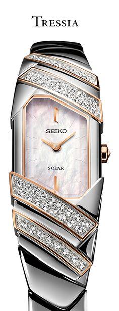 Seiko Tressia SUP332- Solar, Diamonds, Rose Gold accents