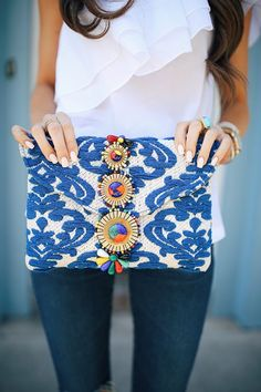 one shoulder ruffle top (runs a little big, size down one size!) // AG jeans beaded embroidered clutch // wedge sandal...