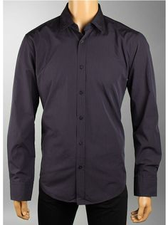 Hugo Boss Mens Ronny Shirts Long Sleeve in dark blue.    Pinstripes are always sexy. And this dark navy and orange combination will rock with your jeans or slacks. Lightly rounded hemline, single button cuffs and straight back yolk all combine to give this designer Hugo Boss mens shirt a relaxed style that men love.