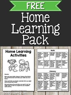 This Home Learning pack for Pre-K has been created to help teachers during the coronavirus school closings. This pack could also be used in later years when someday we have normal life and normal school. Pre K Activities, Preschool Learning Activities, Preschool At Home, Home Learning, Family Activities, Normal School, Normal Life, Teaching, Teacher Tips