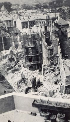 Chambéry in ruins after the Allied Bombing, May 26, 1944, Among the ruins, the Boigne statue stands, #WW2, France. Collection Serge Coupé