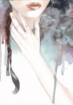 Original watercolor art woman contemporary portrait by HelgaMcL, $22.00