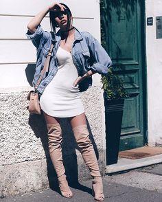 Today was like, hot n' cold... ☀️#summerdays Jacket: @diesel Dress: @fashionnova Heels: @publicdesire Bag: @lamoda Photo by @kristina.su #jglam#j_make_up