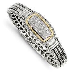 Custom Handcrafted 925 Sterling Silver w/14k 0.25 Carat Diamond Bangle Bracelet. by VincentsFineJewelry on Etsy