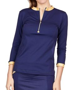 If you're in the market for some new outfits, consider our women's apparel! Shop this comfortable and stylish ALLURE (Navy) Sofibella Ladies & Plus Size ¾ Sleeve Zip Golf Shirt from Lori's Golf Shoppe.