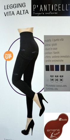 P anticell leggings push up vita alta Emana My shape fibra bioceramica