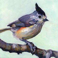 "Daily Paintworks - ""Black-crested Titmouse"" - Original Fine Art for Sale - © Mariko Irie"