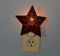 Tin Punched Star Night Light - Bathroom Decor
