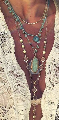 handmade crochet turquoise Boho brown green with matching necklace side slits