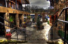 A few of the many wonderful shops and restaurants in Downtown Blue Ridge  Blue Ridge Scenic Railway Train in background