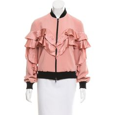 Pre-owned Cinq ? Sept Ruffled Satin Bomber ($145) ❤ liked on Polyvore featuring outerwear, jackets, pink, red satin jacket, red bomber jacket, zipper bomber jacket, zip jacket and blouson jacket