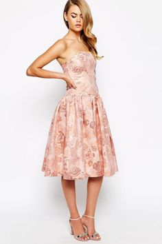 True Violet Jacquard Bandeau Prom Dress With High Low Hem, $118, asos.com   - Seventeen.com