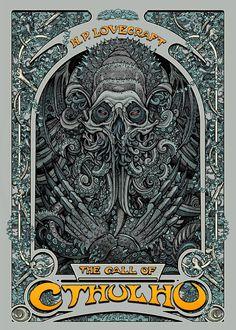 The Geeky Nerfherder: 'The Call of Cthulhu' by Florian Bertmer. Call Of Cthulhu, Pop Culture Art, Weird Art, Horror Art, Comic Art, Giclee Print, Screen Printing, Concept Art, Contemporary Art