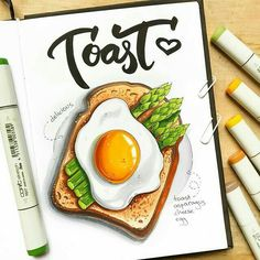 Marker Art Ideas Inspiration New Ideas Copic Kunst, Copic Art, Copic Marker Drawings, Sketch Markers, Drawing With Markers, Marker Kunst, Food Sketch, Watercolor Food, Food Painting