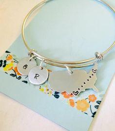 Long Distance Bracelet, Best Friends, Personalized United States, Bracelet, Best Friends Bracelet, Moving Away Gift, Best Friend Gift