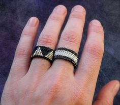 Jewelry set Two peyote rings Black ring Black and par HappyBeadwork