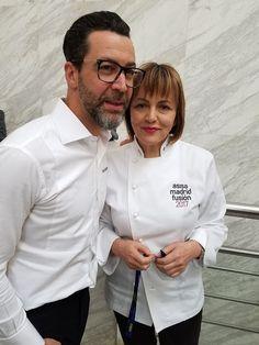 María José San Román (Monastrell, Alicante) and Quique Dacosta (Quique Dacosta) at Asisa Madrid Fusión 2017.  Photo by Gerry Dawes©2017 #amf17 #quiquedacosta #grupogourmet #mariajosesanroman