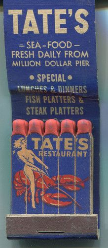 Tate's Restaurant Girlie Feature Matchbook Atlantic City NJ Lobster | eBay