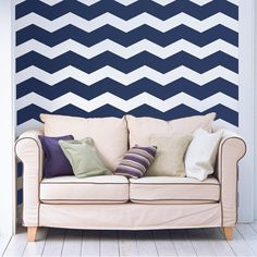 6 Wide Chevron Wall Art Wall Decals by WallsNeedLove on Etsy, $30.00,graphite or royal blue