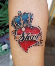 Heart and crown tattoo