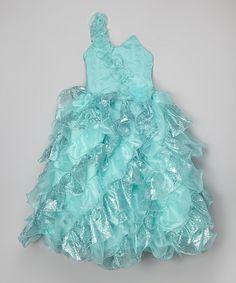 Another great find on #zulily! Aqua Tiered Ruffle Asymmetrical Dress - Toddler & Girls by Bijan Kids #zulilyfinds