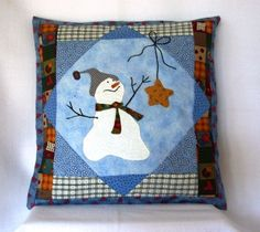 """Catch a Falling Star"" Hand Appliqued #Snowman Pillow "" #handmade by @QuiltTops on #artfire"