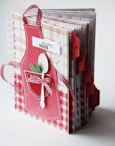 Cute cook book mini album- beautiful ideas- not in english! Mini Albums Scrap, Mini Scrapbook Albums, Scrapbook Cards, Scrapbook Recipe Book, Ideias Diy, Album Book, Handmade Books, Smash Book, Altered Books