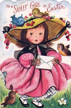 vintage easter card - sweet girl dressed in pretty dress & bonnet