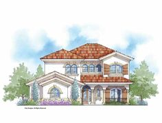 Mediterranean House Plan with 2915 Square Feet and 4 Bedrooms(s) from Dream Home Source | House Plan Code DHSW69687