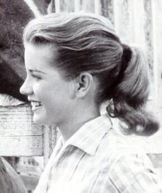 """Dolores Hart in the movie """"Loving You"""" (1957). Dolores resembles Gray Prindle's younger sister, Holiday (""""Day""""), and not just in beauty. Dolores left Hollywood in 1963 to enter the Abbey Regina Laudis in Bethlehem, Connecticut, and Day is also a squeaky clean, virginal, Connecticut girl (living in the town of Winter Harbor, Stoneham County), as well as a religious cleric, albeit of a different (and, of course, decadent) kind: Druidic Priestess."""