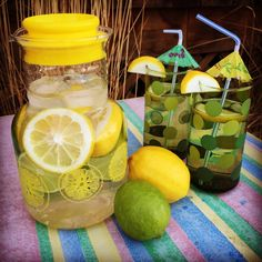 Nothing says summer like a vintage Pyrex Lemonade pitcher full of icy cold lemon-lime fruit infused water :)