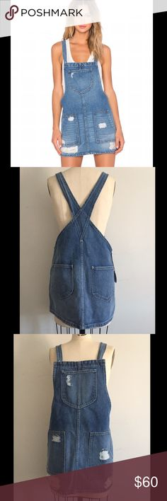 Tularosa Sophia Denim Overall Dress NWT M $175 Got it from Revolve. It's too big for me and not really my style. NWT. Originally $175 Tularosa Dresses Mini