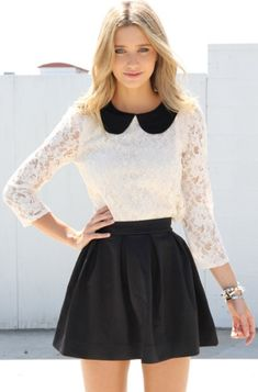 Peter Pan Collar over white lace shirt, black leather skirt. peter pan collars are literally the cutest things ever. Cute Fashion, Look Fashion, Fashion Outfits, Classy Teen Fashion, Korean Fashion, Fashion 2017, Fall Fashion, Fashion Women, Teenager Fashion Trends