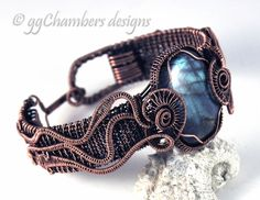 Antiqued Copper Jellyfish Helix Cuff Style Bracelet with Blue Green Labradorite Cabochon