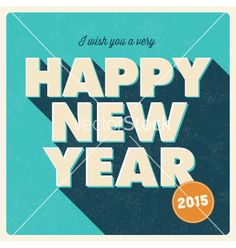 Retro Happy new year 2015 card vector by thecorner on VectorStock®