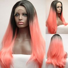 Silk Straight Pink Synthetic Lace Front Wig Glueless Ombre Two Tone Color Black/Pink Heat Resistant Hair Wigs/FREE SHIPPING New