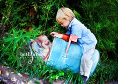 The love the imagination that went into this... baby sibling photography idea