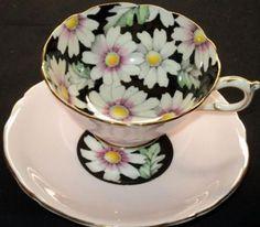 PARAGON ENGLAND DAISY Chintz Medley MAUVE Black TEA CUP AND SAUCER