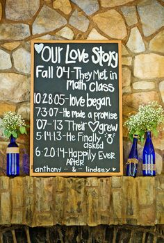 Display a chalkboard love story sign at your wedding reception! {Kayden Studios}