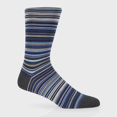 Paul Smith Men's Socks | Sky Blue Signature Stripe Socks