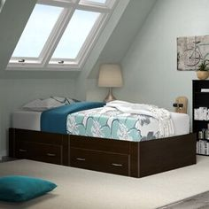 Andover Mills™ Ryker Standard Bookcase & Reviews | Wayfair Platform Bed With Drawers, Bunk Beds With Drawers, Under Bed Drawers, Full Platform Bed, Bunk Bed With Trundle, Twin Bunk Beds, Upholstered Platform Bed, Under Bed Storage, Storage Beds
