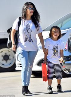 Proud big sister Kourtney Kardashian sports Kendall Jenner T-shirt #dailymail