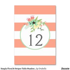 Simply Floral & Stripes Table Number Table Cards