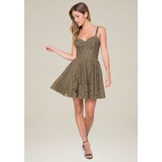 Bebe Women's Lace Fit & Flare Dress ($149) ❤ liked on Polyvore featuring dresses, dusty olive, olive green lace dress, army green dress, strappy lace dress, sweetheart dress and olive dress