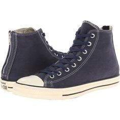 Converse Chuck Taylor All Star Vintage Washed Twill Back Zip Hi Lace... ($60) ❤ liked on Polyvore featuring shoes, sneakers, converse, navy, women shoes, all star sneakers, high top sneakers and lace up sneakers